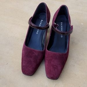 Bandolino Square Toe Merlot Suede Heels Size 7.5